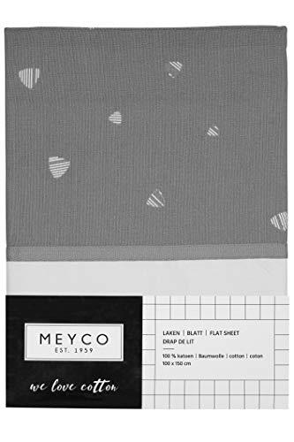 Meyco 434041 Bedlaken met omslag SWEET TRIANGLE 100% katoen GRIJS 100x150cm grijs-wit