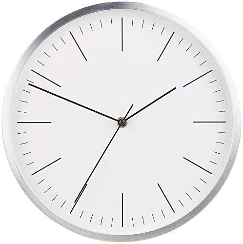 St. Leonhard Wanduhr lautlos: Moderne Aluminium-Wanduhr mit flüsterleisem Sweep-Uhrwerk, Ø 31 cm (Wanduhr geräuschlos)