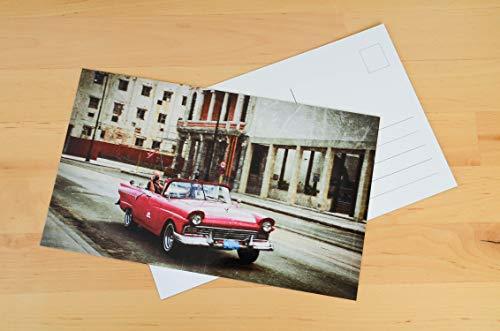 Kuba Postkarten XXL Panorama Havanna Chevy Oldtimer Cabrio pink