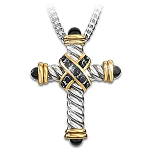 Trend Line Simple Retro Style Cross Necklace Gothic Punk Pendant Trend Men's Hip Hop Rock Motorcycle Accessories Gift