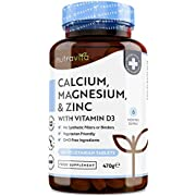 Calcium Magnesium Zinc & Vitamin D3 Supplement - 365 Vegetarian Tablets - 6 Month Supply of High Strength Osteo Tablets - Calcium Supplement Complex - Made in The UK by Nutravita