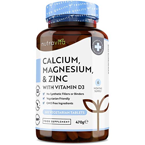 Calcium Magnesium Zinc & Vitamin D3-365 Vegetarian Tablets - High Strength Calcium Supplement - 6 Month Supply of Vegetarian Osteo Supplement - Made in The UK by Nutravita