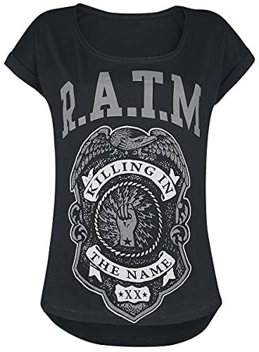 Rage Against The Machine Police Badge Mujer Camiseta Negro L, 100% algodón, Vokuhila Regular