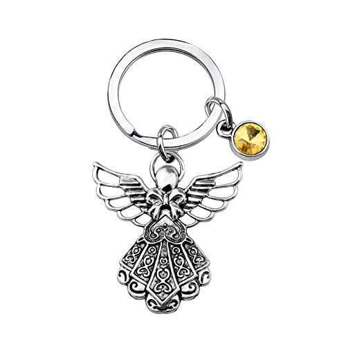 Guardian Angel Keychain with Birthstone Memorial Key Chain Personalised Gift (Nov.)