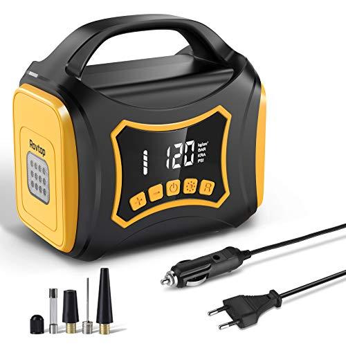 Rovtop 12v Kompressor,Auto Luftpumpe Kann Gleichzeitig Eingeschaltet Werden,150PSI Fahrradpumpe Elektrisch,220V,mit LCD-Bildschirm,LED/SOS-Rotlicht