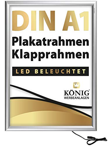 LED Plakatrahmen DIN A1 | LED beleuchtet, Leuchtrahmen | 25mm Aluminium Profil, Silber | inkl. entspiegelter Schutzscheibe | Alu Klapprahmen Wechselrahmen Posterrahmen | Dreifke®