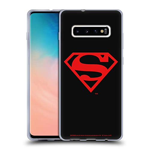 Head Case Designs Officially Licensed Superman DC Comics Black and Red Logos Soft Gel Case Compatible with Samsung Galaxy S10+ / S10 Plus