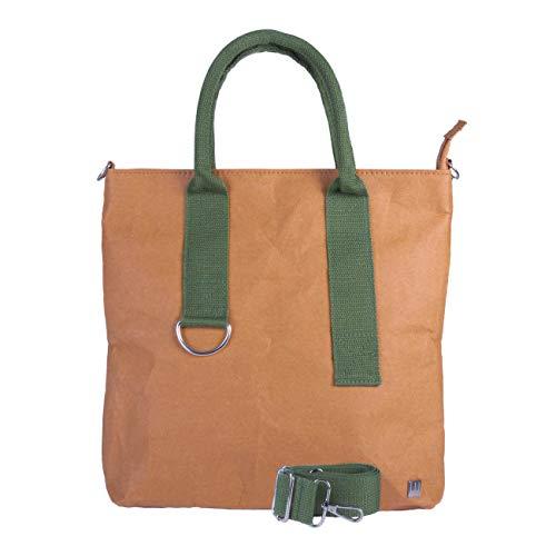 WOLA bolsos bandolera mujer ORIGAMI carteras de mano papel shopper vegano 32x29x9cm verde