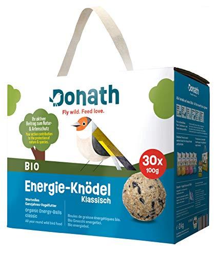 Donath BIO Energie-Knödel klassisch, ohne Netz - 30 Meisenknödel ohne Netz im Karton (30 x 100g) - wertvolles Ganzjahres Wildvogelfutter - aus unserer Manufaktur in Süddeutschland
