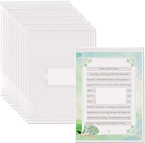 Fyess 40Pcs Clear Plastic Document Folders with Label Pocket,US Letter/ A4 Size 22C (2.2mm) Thick Clear Transparent Document Folders Copy Safe Project Pockets Transparent (L-Type)