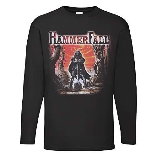 LaMAGLIERIA Herren Langarmshirt HammerFall Glory to The Brave - Long Sleeve 100% Baumwolle Metal Band, M, Schwarz