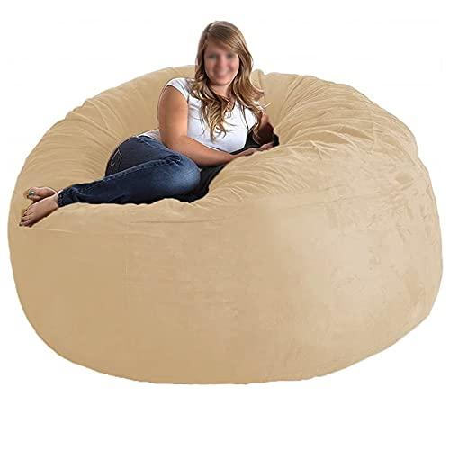 Cugzue Silla Beanbag para Adultos, Sillas de Puf Gigante para Adultos de 7 Pies, Bean Bag Cover Tumbona Bean Bag Silla de Almacenamiento,Sillón Bean Bag Sofá (sin Relleno),Beige