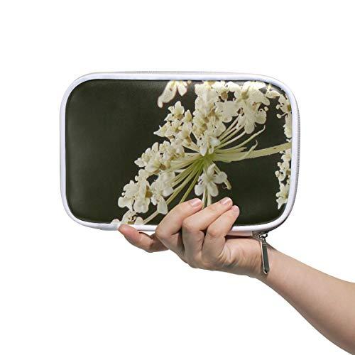 Grand Trousse De Toilette Pour Les Femmes Carotte Sauvage Plante De Jardin Fleur Sauvage Fleur Bloom Étui De Maquillage Petit Étui À Crayons Personnalisé Multifonctionnel Cosmétique Sacs De Voyage Po