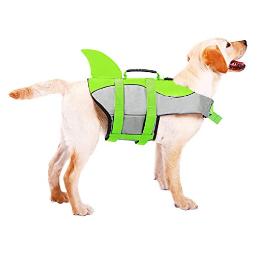 ASENKU Dog Life Jacket Pet Life Water Vest for Small Medium Large Dogs, Ripstop Dog Life Safety Saver Preserver for Boating & Swimming (L, Green)