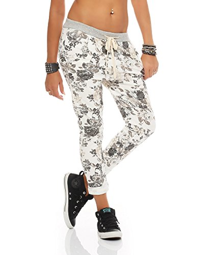 Zarmexx Damen Sweatpants Baggy Hose Boyfriend Freizeithose Sporthose All-Over Roses Print One Size (Weiss, One Size)