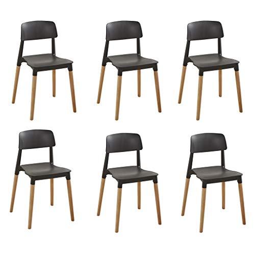 CHQYY Chaise - jardin chaise basse arrière en plastique - 6 pièces Ens Chaise empilable avec 4 pieds en bois massif, maison extérieur Retour à chaise for le jardin, terrasse et balcon
