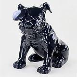 YAOHEHUA Esculturas De Metal 40 5 Cm Gafas Estatua De Perro Bulldog Inglés Arte Figuras Resina Artesanía Decoración del Hogar Accesorios Negro Estatuas Adornos Esculturas
