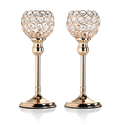 Artis Set of Two Gold Pillar Candle Holders with Crystal Detail for Tea Light/Votives, Perfect Centrepiece for Dinner Table, Weddings and Parties
