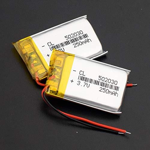 TTCPUYSA Batería De Litio De 3.7v 250mah 502030 Lipo, Recargable para Los Auriculares De Los Presidentes De GPS Mp3 Mp4 Bluetooth 2pieces