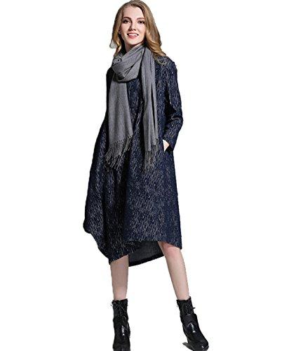YALI Robe à manches longues en tricot épais, bleu foncé, XXL