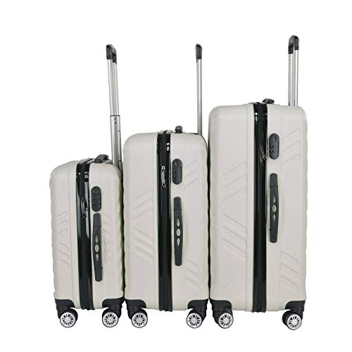 ADHW 3Pcs Hard Shell Cabin Suitcase 4 Wheel Travel Luggage Trolley Lightweight Case (Color : Grey)