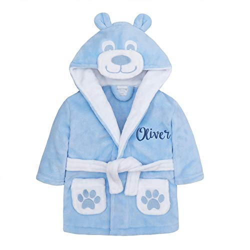 Style It Up Bademantel für Babys, Mädchen, Jungen, Unisex, Plüsch, Fleece, weich, niedlich, Geschenkidee für Neugeborene Gr. 80, Blauer Teddybär