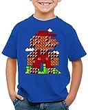 style3 Bros Level Camiseta para Niños T-Shirt plomero 8bit japón Mario, Talla:140
