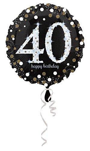Geburtstag 40 Folienballon Helium mit Ballongas gefüllt Gold Silber Hologramm 45cm