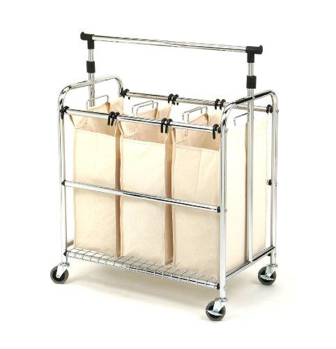 Seville Classics Mobile 3-Bag Reinforced Heavy-Duty Laundry Hamper Sorter Cart /w Clothes Rack