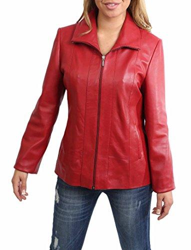 House Of Leather Donna Giacca in Vera Pelle Classica Zip Up Cappotto di Agnello Semi-Attrezzato Julia Rosso (Large)