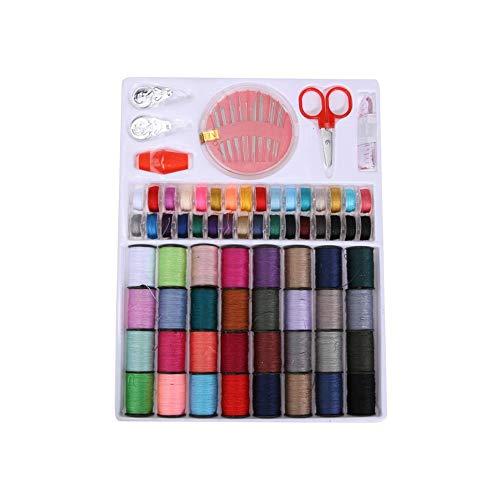 Xiton 1 set de hilo de coser de 64 rollos de hilo de coser de color mezclado con tijera y cinta métrica y agujas Kit de herramientas de costura para máquina de coser doméstica