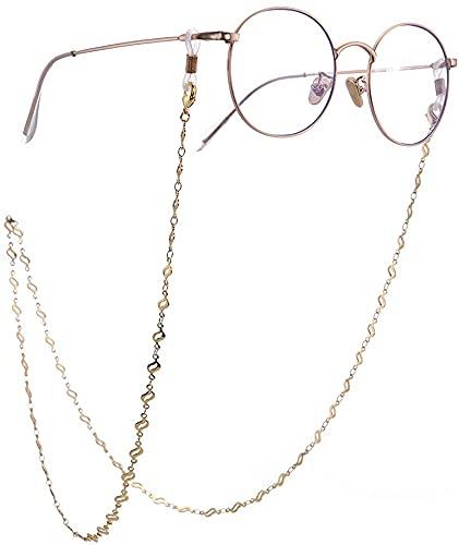 AMOZ Moda Árbol Hoja Follaje Enlace Seguro Gafas Gafas de Sol Correa Titular Cadena de Enlace para Mujeres Niñas Cadena de Oro,Cadena de Oro, Bobina Blanca