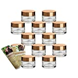 gouveo 12er Set Leere 30 ml Cremetiegel incl. Drehverschluss Gold, Cremedose, Döschen, Tiegel, Miniglas