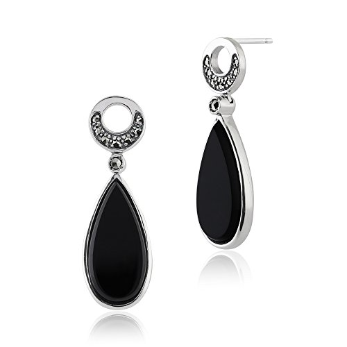 Gemondo Art Deco Ohrringe Sterling Silber 6ct Schwarz Onyx & 0,17 CT Markasit Ohrringe