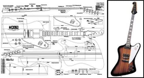 Plan of Firebird Electric Guitar Special price for a limited time Print - specialty shop Full Scale