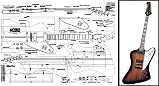 Plan of Gibson Firebird Electric Guitar - Full Scale Print