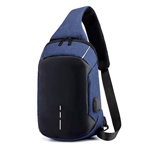 Bolsa de pecho con puerto de carga USB, bolsa de mensajero bolso de hombro para hombres y mujeres gimnasio ligero al aire libre senderismo mochila, Azul oscuro.