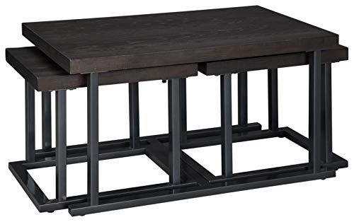 Signature Design by Ashley - Airdon Cocktail Table W/ 2 Stools, Gray