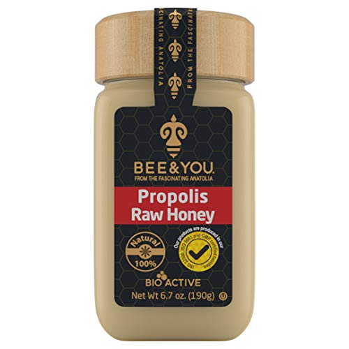 BEE & YOU Propolis, Raw Honey 100% Natural and Free of Chemicals,Colors, GMO's, Gluten and Soy-No Hidden Ingredients Tastes Great-Supports Anti-Aging, Skin Health and Cognitive Functions