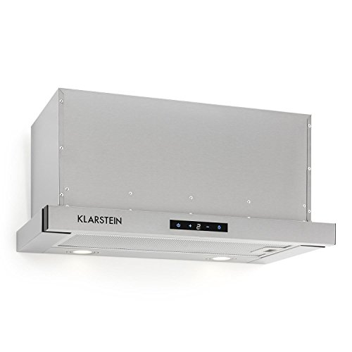 Klarstein Vinea Campana extractora de bajo mueble • Vidrio de seguridad • 60 cm ancho • Extraíble • 610 m³/h máx. extracción humo • iluminación • Filtro de grasa • Clase Energética A • Plata