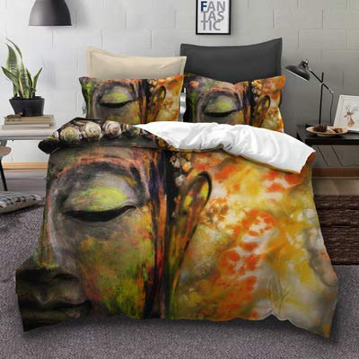 Buddha Face Over Ornate Mandala Round Esoteric Vintage Indian Buddhism Spiritual Hippie Tattoo Decorative Bedding Set US Queen Size(1pc Duvet Cover+2pc Pillowcase) NO Comforter