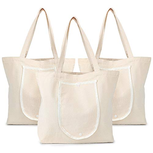 Foldable Blank Tote Canvas Bag, 3 PCS Segarty 15.7x13.4 inch Cotton Bags with Handles and Zip, 12Oz Heavy Duty Reusable Washable Grocery Shopping Bag Plain Bag for Women Teacher to DIY Art Craft Paint