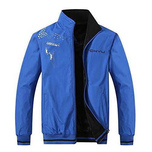 Herren Jacke Herren Blouson Herren Übergangsjacke Herren Jacke Bomber Harrington Bomber Jacke Doppelseitige Jacke (Color Blue, XL)