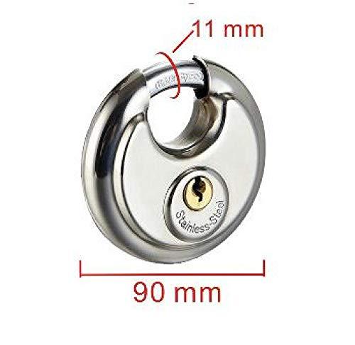 Cilinderslot Ronde RVS hangslot wachtwoord of sleutel Professionele veiligheid Cake Pie Discus Ingot Lock voor ladekast magazijn deur 90mm