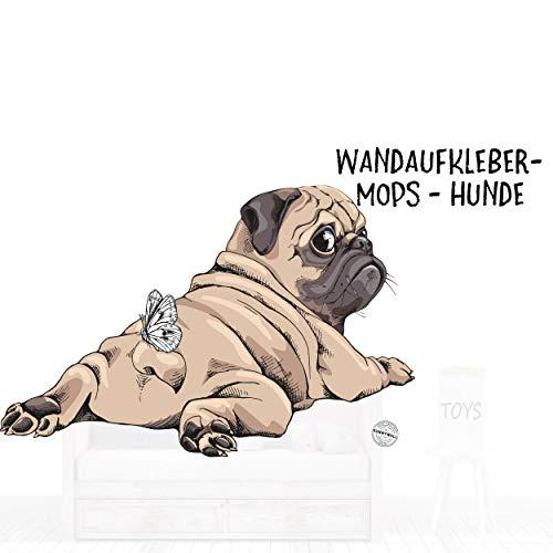 Sunnywall Wandtattoo Aufkleber Mops liegend Junge Hund