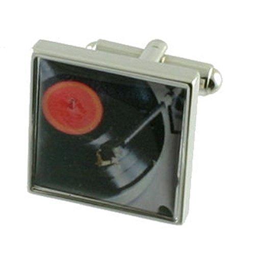 Select Gifts Manschettenknöpfe aus massivem Sterlingsilber 925, Motiv DJ-Plattenspieler, inkl. Geschenkbox