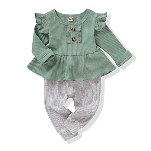 Niño Bebé Niña Trajes Ropa Infantil Volante Manga Camisa Tops Sólido Pantalones Conjunto Otoño Invierno Bebé Ropa, 3-6 meses, Rosa/Rebel Fun.
