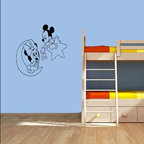 Mickey Mouse Sticker Mural Decal Mickey Mouse Minnie Souris Etoile Lune Sticker Pépinière Cartoon Autocollant Mural Décor À La Maison Bébé