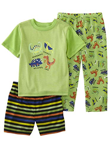 Infant & Toddler Boys Green Dinosaurs Pajamas 3 Piece Sleep Set 2T
