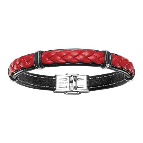 So Chic Bijoux-Pulsera para hombre 20 cm cuero trenzado, color negro, rojo & acero...